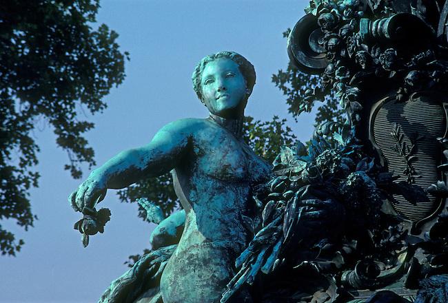 Bronze statue near Place de la Nation, Paris, Ile de France, France