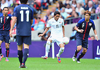 August 07, 2012..Mexico's Jose Corona and Japan's Yuki Otsu in action during Semi Final match at the Wembley Stadium on day eleven in Wembley, England. Mexico defeat Japan 3-1 to reach Men's Finals of the 2012 London Olympics...