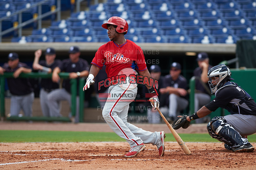 Philadelphia Phillies third baseman Maikel Franco (12), on rehab for a wrist injury, at bat during an instructional league game against the New York Yankees on September 29, 2015 at Brighthouse Field in Clearwater, Florida.  (Mike Janes/Four Seam Images)