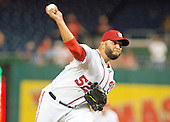 Washington Nationals relief pitcher Yusmeiro Petit (52) works in the sixth inning against the New York Mets at Nationals Park in Washington, D.C. on Tuesday, June 28, 2016.  The Nationals won the game 5 - 0.<br /> Credit: Ron Sachs / CNP