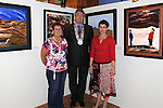 Chairperson of Louth County Council Finan McCoy pictured with local artist Kathleen King and her daughter Lorna Sweeney  at her exhibition in Ardee Castle as part of the Turfman festival. Photo: Colin Bell/pressphotos.ie