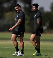 PRETORIA, SOUTH AFRICA - OCTOBER 05: Codie Taylor and Ardie Savea during the Rugby Championship New Zealand All Blacks captain's run at St David's Marist Inanda in Sandown, South Africa on Friday, October 5, 2018. Photo: Steve Haag / stevehaagsports.com