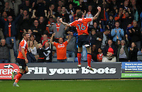 Glen Rea celebrates scoring for Luton Town during the Sky Bet League 2 match between Luton Town and Grimsby Town at Kenilworth Road, Luton, England on 10 September 2016. Photo by Harry Hubbard / PRiME Media Images.