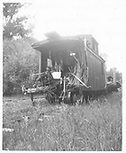 RGS caboose #0403 with B-end destroyed at Muldoon (MP 85) by run-away flat from Rico.<br /> RGS  Muldoon, CO  7/26/1948