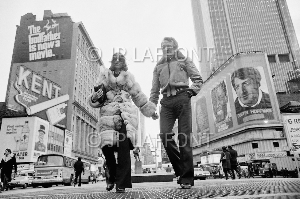27 Feb 1973, New York City, New York State, USA. French actor and dancer Jean-Pierre Cassel (born Crochon) and his wife Sabine Cassel-Lanfranchi, on visit in New York. Image by © JP Laffont