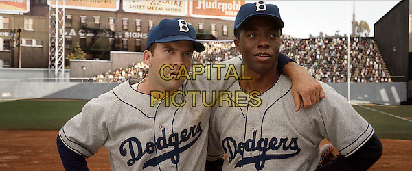 LUCAS BLACK &amp; CHADWICK BOSEMAN<br /> in 42: The True Story of An American Legend (2013) <br /> *Filmstill - Editorial Use Only*<br /> CAP/NFS<br /> Image supplied by Capital Pictures