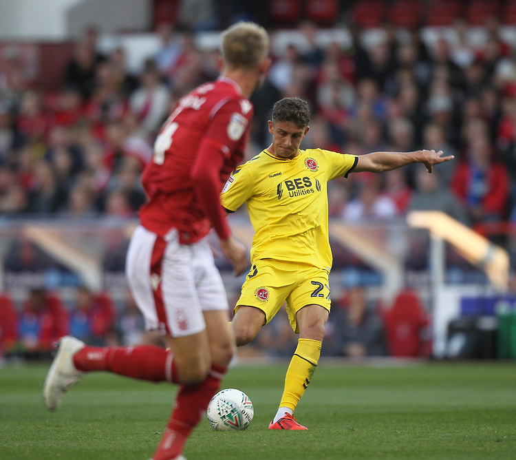 Fleetwood Town's Harrison Biggins gets a shot on goal<br /> <br /> Photographer Mick Walker/CameraSport<br /> <br /> The Carabao Cup First Round - Nottingham Forest v Fleetwood Town - Tuesday 13th August 2019 - The City Ground - Nottingham<br />  <br /> World Copyright © 2019 CameraSport. All rights reserved. 43 Linden Ave. Countesthorpe. Leicester. England. LE8 5PG - Tel: +44 (0) 116 277 4147 - admin@camerasport.com - www.camerasport.com