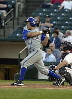 May 10, 2004:  Luis Ordaz of the Durham Bulls, International League (AAA) affiliate of the Tampa Bay Devil Rays, during a game at Frontier Field in Rochester, NY.  Photo by:  Mike Janes/Four Seam Images
