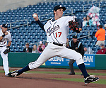 Reno Aces pitcher Trevor Bauer throws against the New Orleans Zephyrs in their game played on Wednesday night at Aces Ballpark in Reno, NV.