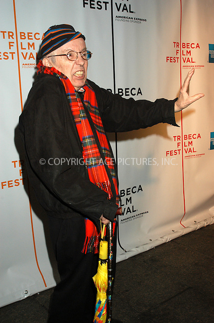 WWW.ACEPIXS.COM . . . . .  ....NEW YORK, APRIL 22, 2005....Taylor Mead at the screening of 'Excavating Taylor Meade' as a part of the Tribeca Film Festival.....Please byline: KRISTIN CALLAHAN - ACE PICTURES.. *** ***  ..Ace Pictures, Inc:  ..Craig Ashby (212) 243-8787..e-mail: picturedesk@acepixs.com..web: http://www.acepixs.com
