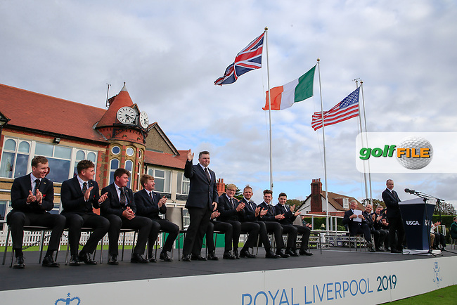 Caolan Rafferty  (GB&I) is introduced during the opening ceremony at the Walker Cup, Royal Liverpool Golf CLub, Hoylake, Cheshire, England. 06/09/2019.<br /> Picture Fran Caffrey / Golffile.ie<br /> <br /> All photo usage must carry mandatory copyright credit (© Golffile | Fran Caffrey)