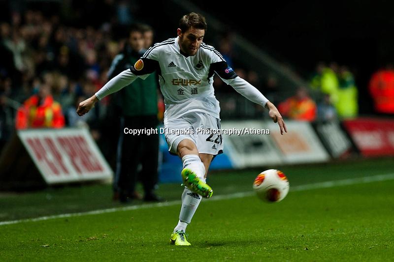 Thursday 28 November  2013  Pictured:Angel Rangel<br /> Re:UEFA Europa League, Swansea City FC vs Valencia CF  at the Liberty Staduim Swansea