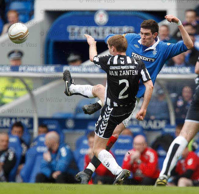David Van Zanten steams in to hoof the ball away from Kyle Lafferty
