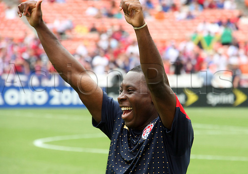 19.06.2011. Washington, USA.  Freddy Adu (20) of  USA greets friends in his home town of Washington D.C. during a CONCACAF Gold Cup quarter-final match against Jamaica at RFK stadium in Washington D.C. USA won 2-0.