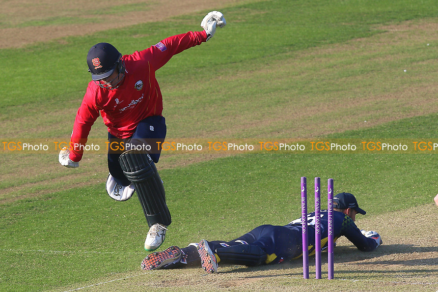 Simon Harmer of Essex run out by Chris Cooke during Glamorgan vs Essex Eagles, Royal London One-Day Cup Cricket at the SSE SWALEC Stadium on 7th May 2017