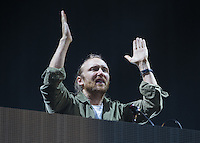 David Guetta gets the crowd going as he performs during The New Look Wireless Music Festival at Finsbury Park, London, England on Sunday 05 July 2015. Photo by Andy Rowland.