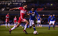Ryan Shotton of Middlesbrough battles with Jacques Maghoma of Birmingham during the Sky Bet Championship match between Birmingham City and Middlesbrough at St Andrews, Birmingham, England on 6 March 2018. Photo by Bradley Collyer / PRiME Media Images.