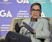 """Associate Justice of the United States Supreme Court Ruth Bader Ginsburg appears at the General Assembly of the Jewish Federations of North America on Monday, at the Washington Hilton in Washington, D.C. In a wide-ranging interview with super lawyer Kenneth Feinberg, Justice Ginsburg remarked that the last week's election means that Donald J. Trump will fill the nine-month-old Supreme Court vacancy. She also touched upon the origin of her famous nickname, saying, the Notorious RBG was inspired by """"the Notorious B.I.G. ... we're both born and bred in Brooklyn."""" November 14, 2016. <br /> Credit: Ron Sachs / CNP"""