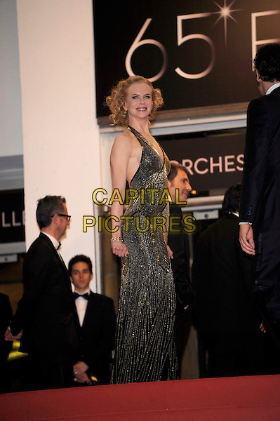 Nicole Kidman.'Hemingway & Gellhorn' screening at the 65th  Cannes Film Festival, France,.24th May 2012..full length gold beaded halternck long maxi dress  .CAP/PL.©Phil Loftus/Capital Pictures.