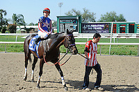 Nates Mineshaft (no. 3), ridden by Jesse Campbell and trained by Austin Smith, wins the 87th running of the grade 2 New Orleans Handicap for four year olds and upward on April 1, 2012 at Fair Grounds Race Course in New Orleans, Louisiana.  (Bob Mayberger/Eclipse Sportswire)