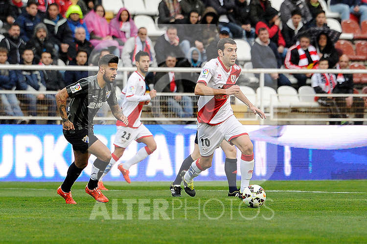 Rayo Vallecano´s Roberto Trashorras and Malaga CF´s  during 2014-15 La Liga match between Rayo Vallecano and Malaga CF at Rayo Vallecano stadium in Madrid, Spain. March 21, 2015. (ALTERPHOTOS/Luis Fernandez)