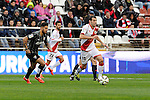 Rayo Vallecano´s Roberto Trashorras and Malaga CF´s  during 2014-15 La Liga match between Rayo Vallecano and Malaga CF at Rayo Vallecano stadium in Madrid, Spain. March 21, 2015. (ALTERPHOTOS/Luis Fernandez)
