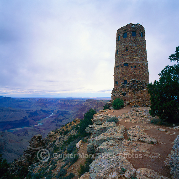 Desert View Watchtower (designed by architect, Mary Jane Colter, and built in 1932), Grand Canyon National Park, Arizona, USA - Scenic View from South Rim, overlooking Colorado River in Grand Canyon