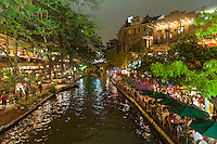 This is an image we shot of the San Antonio river walk at night.  As you walk along the river you see all the colorful umbrellas of the many different restaurants along the waters edge.  Each place has it own unique umbrellas. The hotel also have dinning along the river edge this is a major tourist draw for the city.