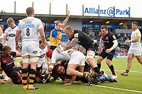 Jamie George of Saracens is all smiles after scoring his third try of the match. Aviva Premiership match, between Saracens and Wasps on October 8, 2017 at Allianz Park in London, England. Photo by: Patrick Khachfe / JMP