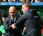 Josep Guardiola manager of Manchester City and Brendan Rogers manager of Celtic shake hands during the Champions League Group C match at the Celtic Park Stadium, Glasgow. Picture date: September 28th, 2016. Pic Simon Bellis/Sportimage