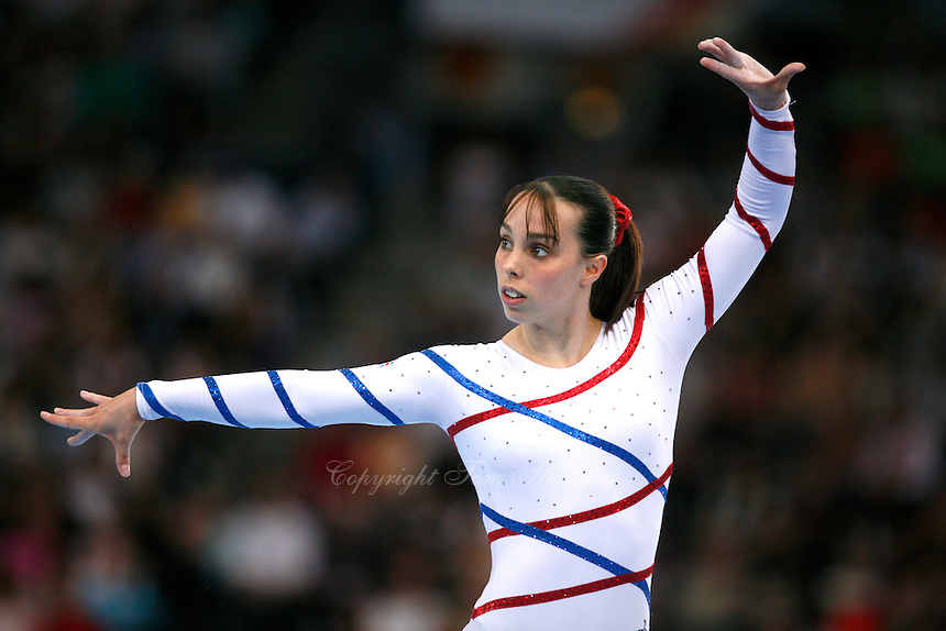September 9, 2007; Stuttgart, Germany;  Beth Tweddle of Great Britain performs on floor exercise during event finals in women's artistic gymnastics at 2007 World Championships.  Photo by Copyright 2007 by Tom Theobald.