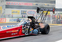 Jul 18, 2020; Clermont, Indiana, USA; NHRA top fuel driver Leah Pruett during qualifying for the Summernationals at Lucas Oil Raceway. Mandatory Credit: Mark J. Rebilas-USA TODAY Sports