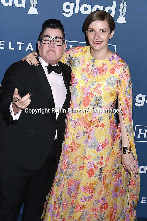 Lea Delaria and fiancee Chelsea Fairless attends the 27th Annual GLAAD Media Awards on May 14, 2016 at the Waldorf Astoria Hotel in New York City, New York, USA.<br /> <br /> photo by Robin Platzer/Twin Images<br />  <br /> phone number 212-935-0770