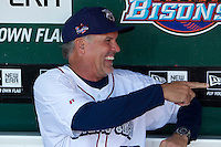 Former Chicago Cubs Hall of Fame infielder, now coach for the Lehigh Valley IronPigs, Ryne Sandberg jokes with Tom Seaver (not pictured) in the dugout before the Triple-A All-Star Game Coca-Cola Field on July 11, 2012 in Buffalo, New York.  The Pacific Coast League defeated the International League 3-0.  (Mike Janes/Four Seam Images via AP Images)