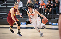#2 Jacob Adler '21<br /> The Occidental College men's basketball team plays against Claremont-Mudd-Scripps on January 9, 2019 in Rush Gym. Oxy lost 63-60, breaking their 13-game winning streak.<br /> (Photo by Marc Campos, Occidental College Photographer)