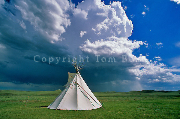 Tipi on the prairie with thunderstorm at Agate Fossil Beds National Monument, Sioux County, Nebraska, AGPix_0083.