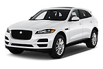 2019 Jaguar F-Pace Prestige 5 Door SUV Angular Front stock photos of front three quarter view