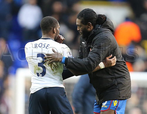 21.02.2016. White Hart Lane, London, England. Emirates FA Cup 5th Round. Tottenham Hotspur versus Crystal Palace. Emmanuel Adebayor and Danny Rose shake hands at end of the game