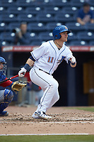 Jake Bauers (11) of the Durham Bulls follows through on his swing against the Buffalo Bison at Durham Bulls Athletic Park on April 25, 2018 in Allentown, Pennsylvania.  The Bison defeated the Bulls 5-2.  (Brian Westerholt/Four Seam Images)