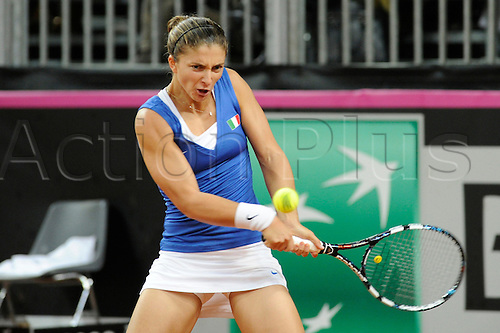 10.02.2013. Rimini, Italy.  Sara Errani (Ita) in action against Varvara Lepchenko (USA) during the Fed Cup match between Italy and the USA in Rimini, Italy .