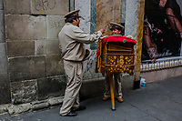 Moises Sanchez<br /> Organilleros, organ players in Centro Historico  on August 23, 2016 in Mexico City, Mexico. <br /> Photo Daniel Berehulak for The New York Times