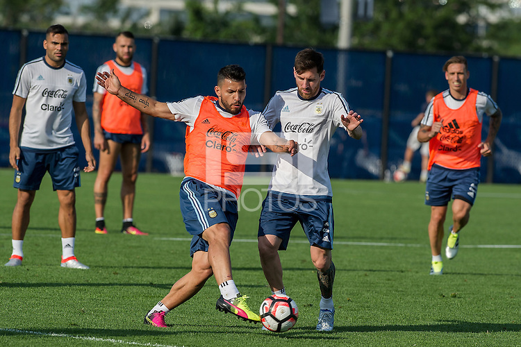 Action photo during training of the Argentina  team before the game against the selection of Chile, Corresponding t Great Final in the Copa America Centenario 2016.<br /> <br /> Foto de accion durante el Entrenamiento de la Seleccion de Argentina previo al partido contra la Seleccion de Chile de la Copa America Centenario 2016, en la foto: Sergio Aguero y Lionel Messi<br /> <br /> 24/06/2016/MEXSPORT/PHOTOGAMMA/Javier Gonzalez.