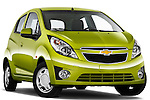 Low aggressive passenger side front three quarter view of a 2011 Chevrolet Spark LS 5 Door Hatchback .
