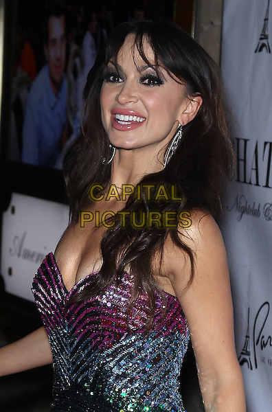 Karina Smirnoff.Karina Smirnoff celebrates her birthday at The Gallery Nightclub inside Planet Hollywood Resort Hotel and Casino, Las Vegas, Nevada, USA..January 14th, 2012.half length green blue pink purple beads beaded dress strapless side.CAP/ADM/MJT.© MJT/AdMedia/Capital Pictures.