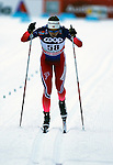 Ingvild Flugstad Oestberg competes during the FIS Cross Country Ski World Cup 10 Km Individual Classic race in Dobbiaco, Toblach a, on December 20, 2015. Norway's Therese Johaug wins. Credit: Pierre Teyssot