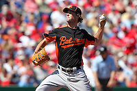 Baltimore Orioles Brian Matusz #17 during a spring training game vs. the Philadelphia Phillies at Bright House Field in Clearwater, Florida;  March 8, 2011.  Philadelphia defeated Baltimore 4-3.  Photo By Mike Janes/Four Seam Images
