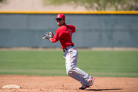 Los Angeles Angels shortstop Leonardo Rivas (7) during a Minor League Spring Training game against the Chicago Cubs at Sloan Park on March 20, 2018 in Mesa, Arizona. (Zachary Lucy/Four Seam Images)