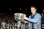 Kerry Captain Darran O'Sullivan introduces the Sam Maguire to the crowd in Glenbeigh Tuesday night