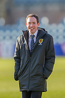8th February 2020; Dens Park, Dundee, Scotland; Scottish Championship Football, Dundee versus Partick Thistle; Referee Colin Steven inspects the pitch before the match