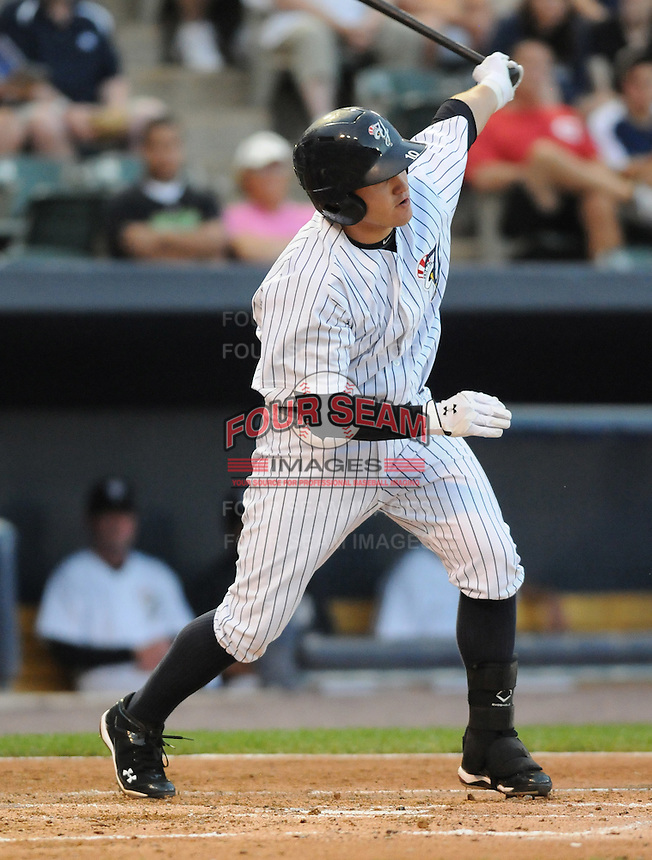 Infielder Brandon Laird (10) of the Scranton/Wilkes-Barre Yankees, International League affiliate of the New York Yankees, in a game against the Norfolk Tides on June 20, 2011, at PNC Park in Moosic, Pennsylvania. (Tom Priddy/Four Seam Images)